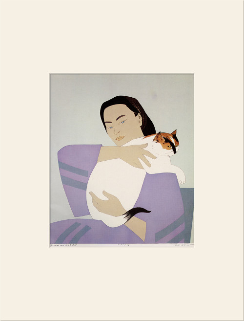 "Woman and White Cat (1971)"", Vintage Offset Lithograph After Will Barnet"