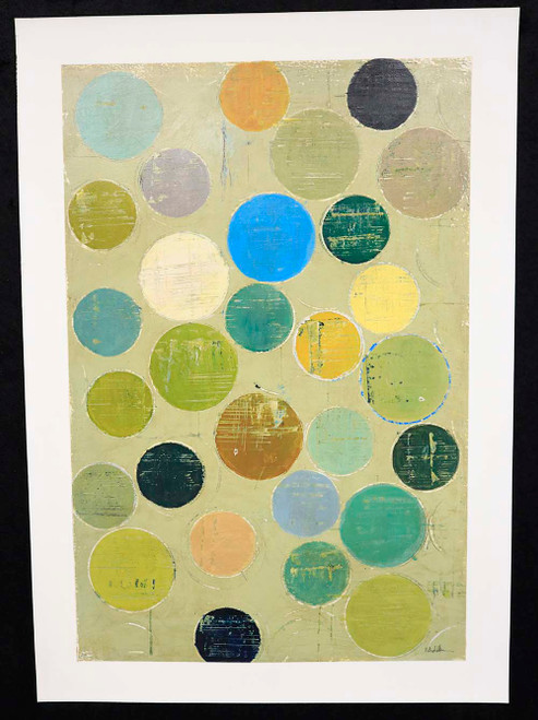 """Colorful Circles"", Embellished Giclee Print on Wove Paper"