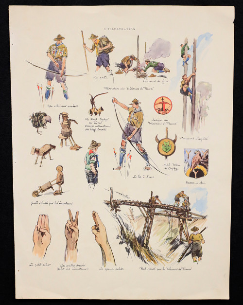 Vintage Lithograph of French Scouting Illustrations Circa 1934