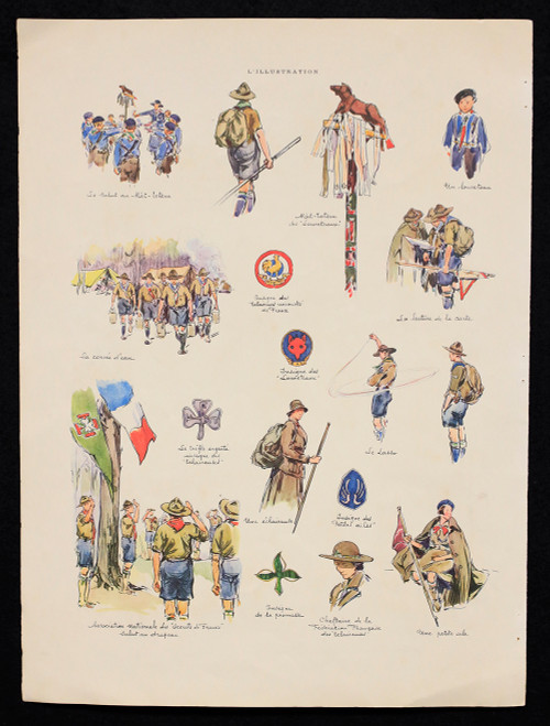 Vintage Lithograph of French Scouting Illustrations Circa 1934 (2)