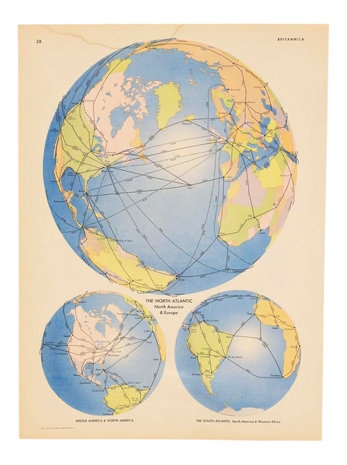 """""""The North Atlantic"""", Vintage Map of the Globe by Encyclopedia Britannica From 1945"""