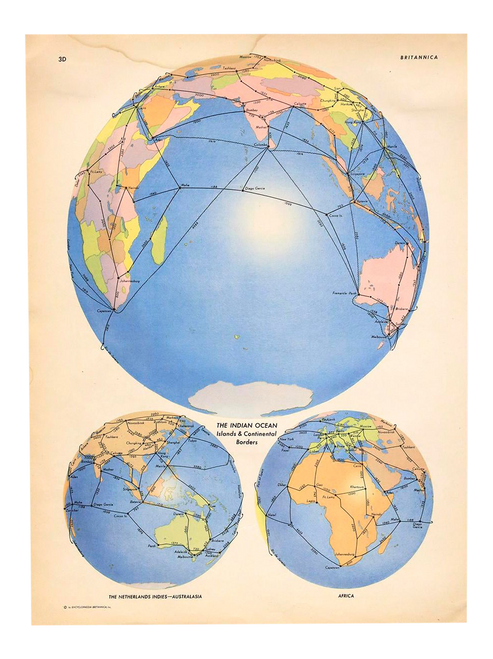 """""""The Indian Ocean"""", Vintage Map of the Globe by Encyclopedia Britannica From 1945"""