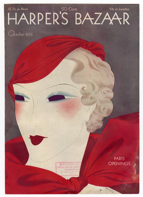 """Harper's Bazaar, October 1932."" Original Vintage Fashion Magazine Cover"
