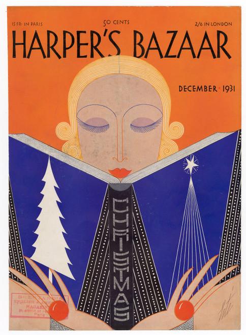 """Harper's Bazaar, December 1931."" Original Vintage Fashion Magazine Cover"