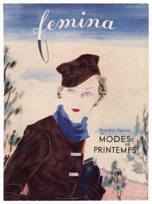 """Femina, April 1933"" Original Vintage French Magazine Cover"
