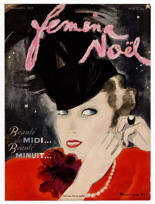 """Femina Noel, December 1935"" Original Vintage French Magazine Cover"
