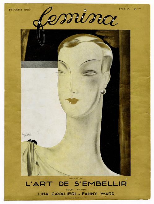 """Femina, February 1927"" Original Vintage French Magazine Cover"