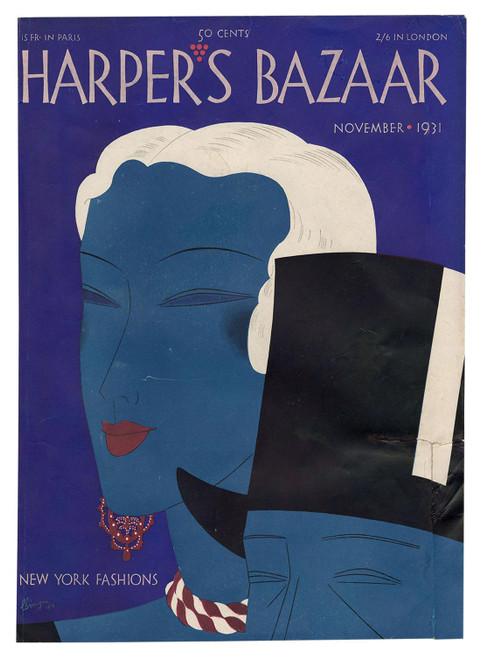 """Harper's Bazaar, November 1931."" Original Vintage Fashion Magazine Cover"