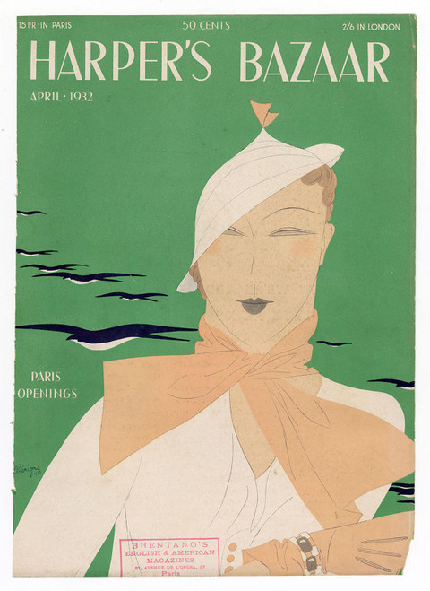 """Harper's Bazaar, April 1932."" Original Vintage Fashion Magazine Cover"