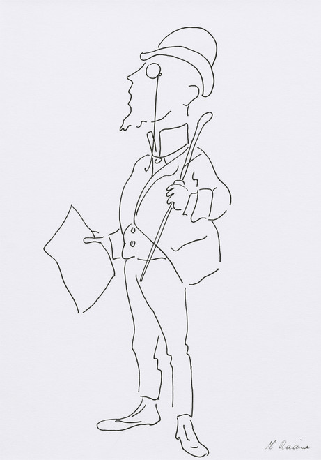 French Caricature 6, Drawing by Racine (Pen & Ink)