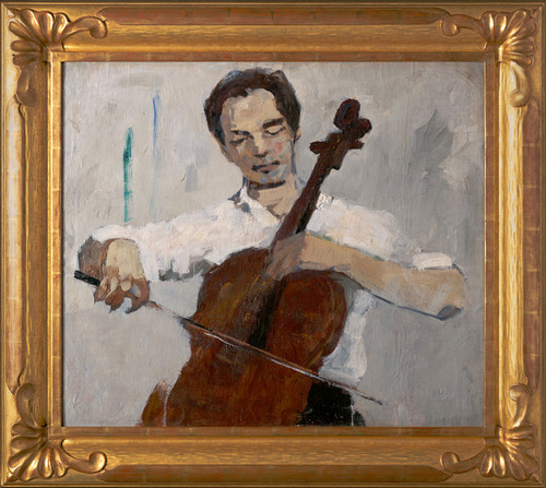 """Boy Playing Cello"", Original Oil Painting by Nikolai Gladkov Circa 1961"