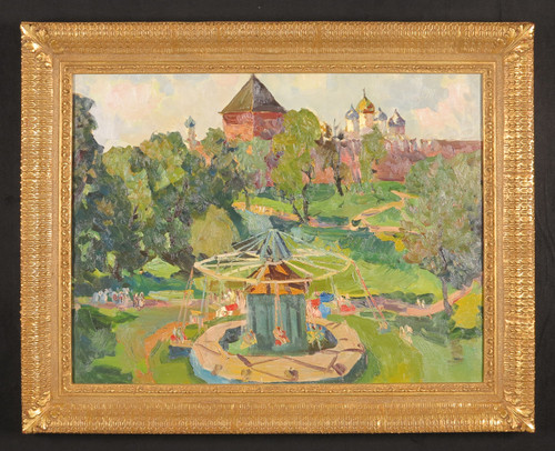 Children's Ride, Original Oil Painting by v.f. Filipchenko Circa 1977