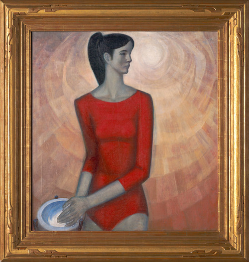 """Gymnast With Chalk"", Original Oil Painting by Evgeny Yasvin Circa 1961"