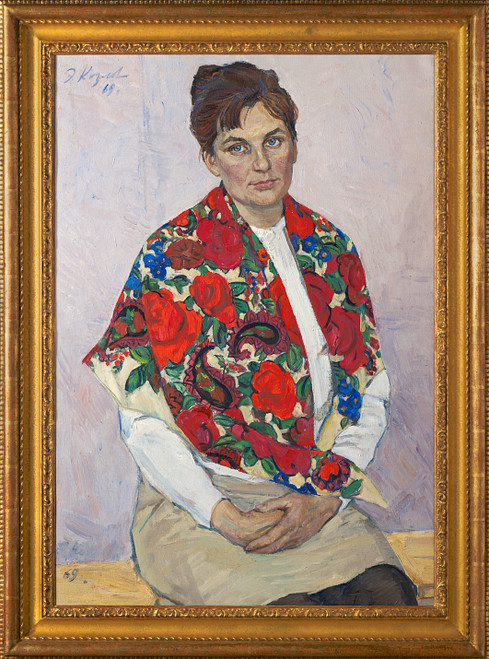"""Portrait of My Wife"", Original Oil Painting by Engels Kozlov Circa 1969"