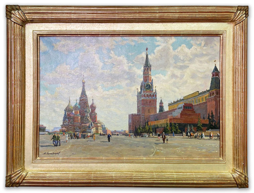 """Red Square Moscow"" Soviet Social Realism Oil Painting on Canvas Circa 1953"