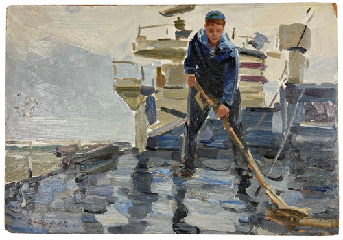 """Sailor on Deck"" Soviet Socialist Realism Oil Painting Circa 1957 (SOLD)"