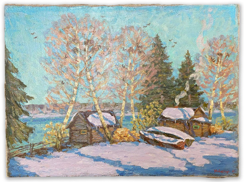 """Spring Thaw"" Soviet Social Realism. Oil on Canvas Painting by Mikhail Utkin Circa 1961"