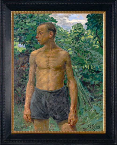 """Standing Figure of a Young Man"" Original Oil Painting by Gavriil Gorelov Circa 1940"