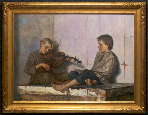 """The Music Lesson"", Original Oil Painting by Nikolai Bogdonov-Belski Circa 1897"