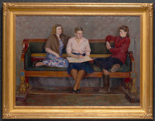 """Three Girlfriends"", Original Oil Painting by Evgeni Krylov Circa 1950"