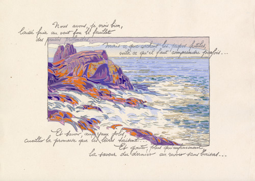 """""""Rocky Shoreline - Coast of France"""" Pochoir Lithograph by Georges Pierre Guinegault Circa 1920 (2)"""