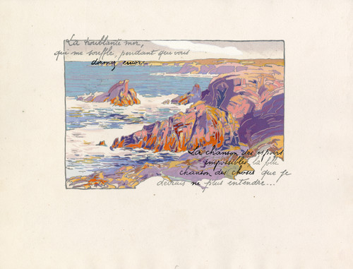 """""""Rocky Shoreline - Coast of France"""" Pochoir Lithograph by Georges Pierre Guinegault Circa 1920 (3)"""