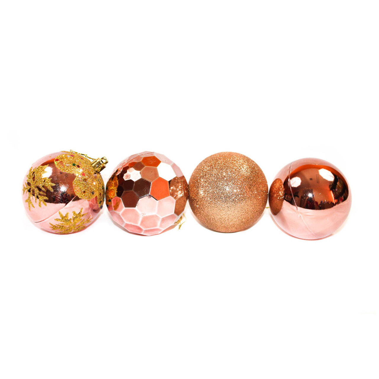 3 Rose Gold Shatterproof Christmas Ornaments