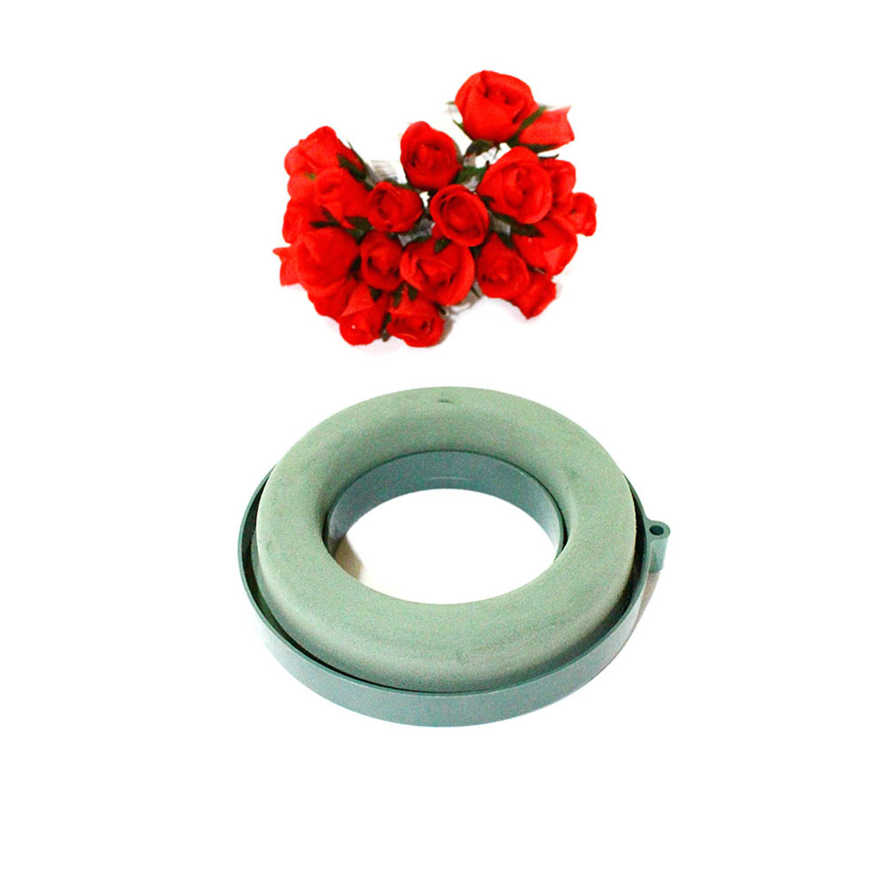 "WET FLORAL FOAM 12/"" FLORIST WREATH RING WITH FOAM BASE PACK of 2"