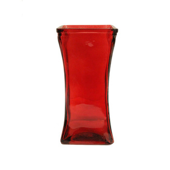 "9""H Red Tapered  Square Glass Vase"