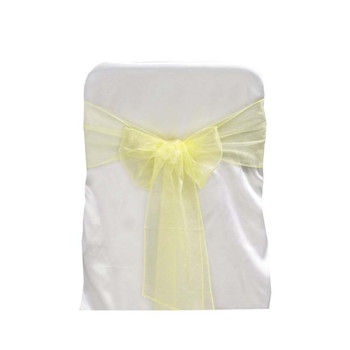 Yellow Organza Chair Bow 6 Pcs