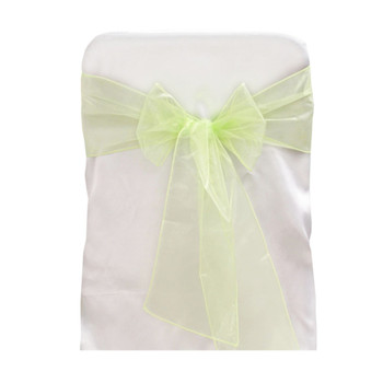 Apple Green Organza Chair Bow 6 Pcs