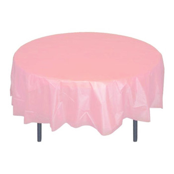 "84"" Pink Round Plastic Table Cover"