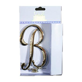 "4"" -B- Silver Rhinestone Cake Topper"