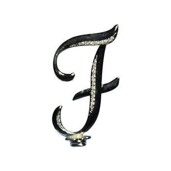"4"" -F- Silver Rhinestone Cake Topper"