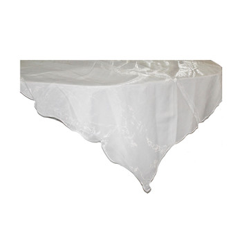 "80"" White Square Organza Table Cover"