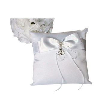White Ring Bearer Pillow with Hearts Charm
