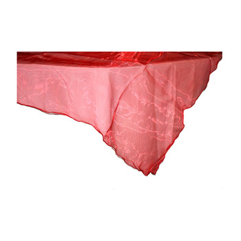 "80"" Red Square Organza Table Cover"
