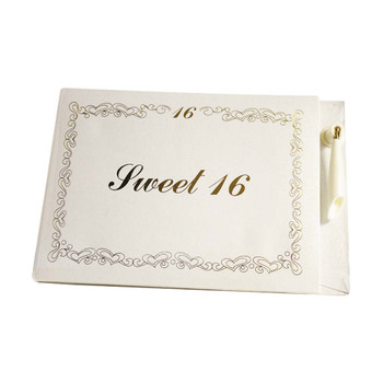 White/Gold Sweet 16 Guest Book