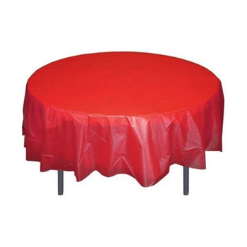 """84"""" Red Round Plastic Table Cover"""