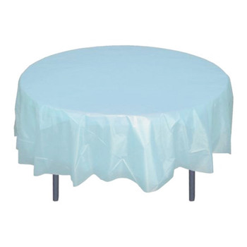 "84"" Light Blue Round Plastic Table Cover"