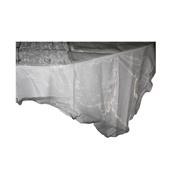 "80"" Silver Square Organza Table Cover"