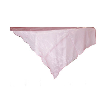 "80"" Pink Square Organza Table Cover"