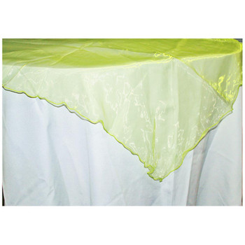 """80"""" Lime Green Square Organza Table Cover"""