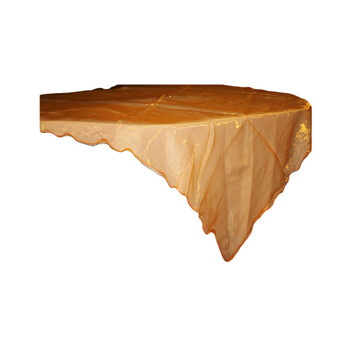 "80"" Orange Square Organza Table Cover"