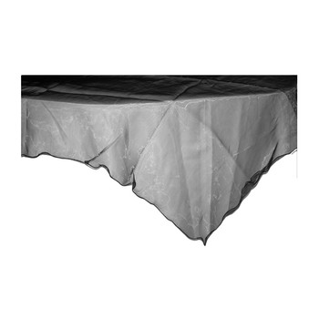 "80"" Black Square Organza Table Cover"