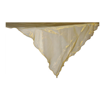 "80"" Gold Square Organza Table Cover"