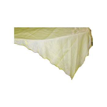 "80"" Yellow Square Organza Table Cover"