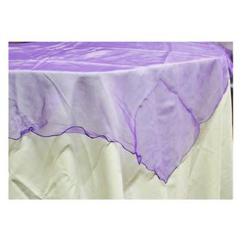 """80"""" Purple Square Organza Table Cover"""