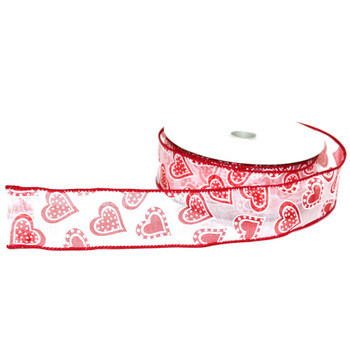 "1.5"" Webbed Red Hearts Sheer Ribbon"