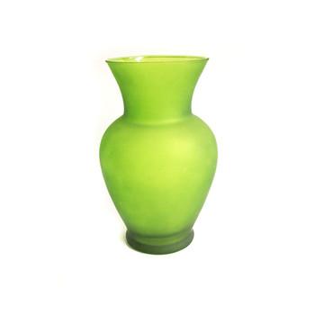 "11""H Frosted Green Spring Garden Glass Vase"